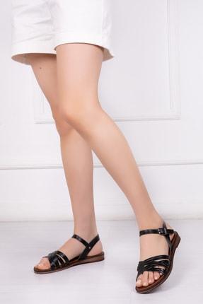 Deripabuc Hakiki Deri Siyah Kadın Deri Sandalet Dp-0013