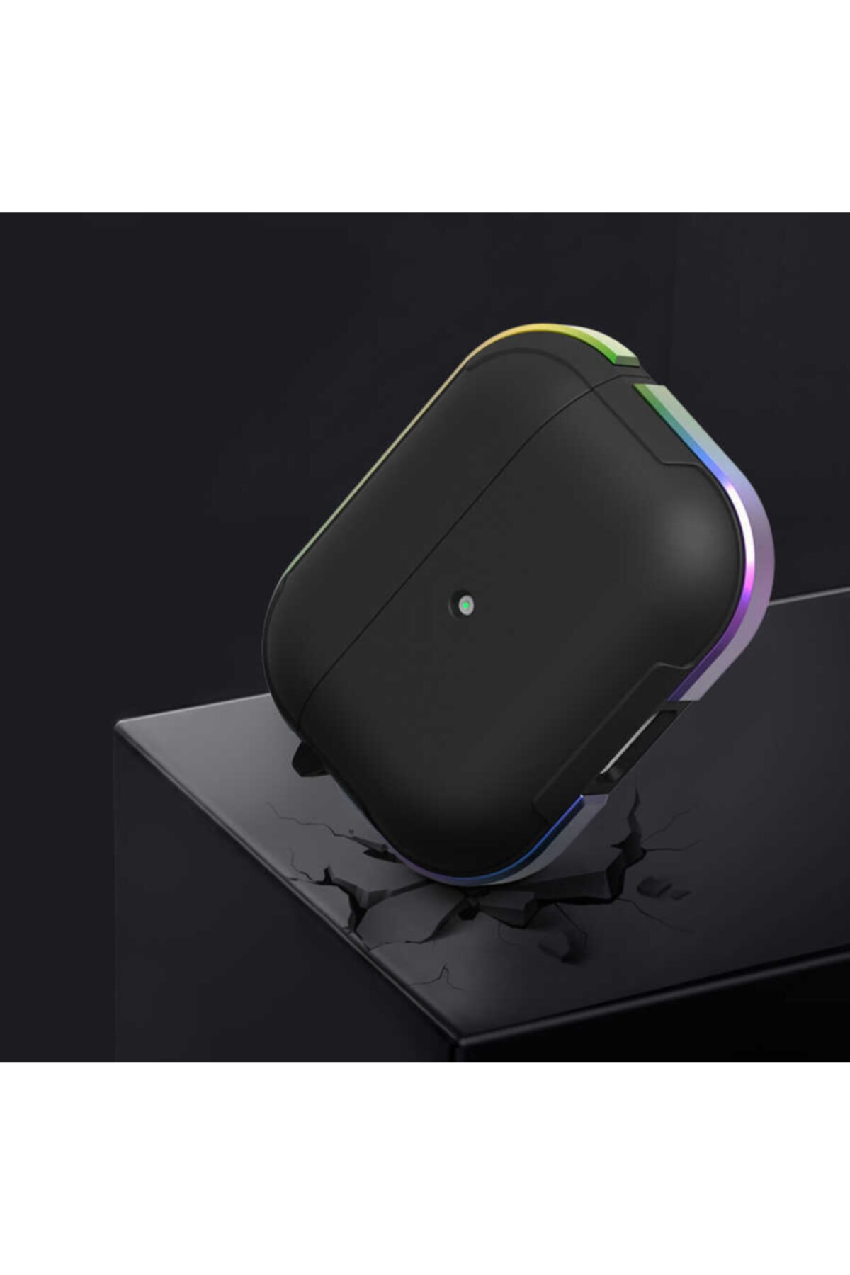 WIWU Airpods Pro Kılıf Silikon Metal Çerçeveli Kablosuz Şarj Destekli Kancalı 2