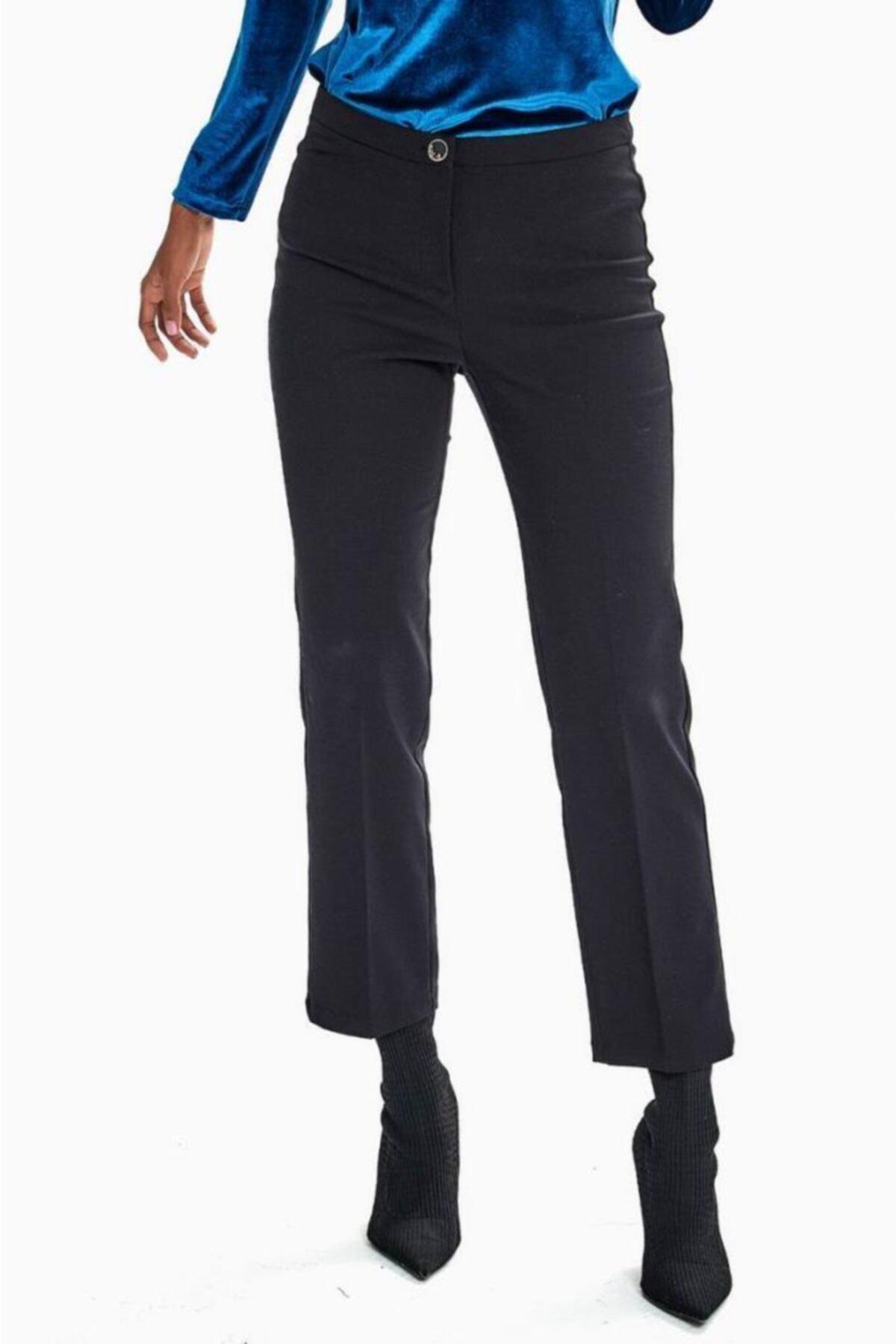 İKİLER Kadın Siyah Tek Düğmeli Relax Fit Pantolon 1