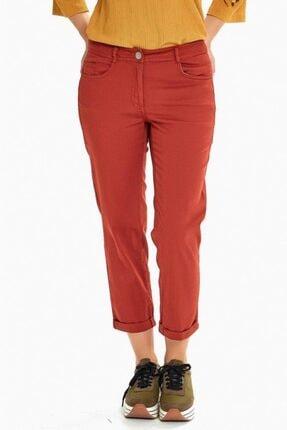İKİLER Kadın Tarçın Cepli Paçası Kıvırmalı Parça Boya Pantolon