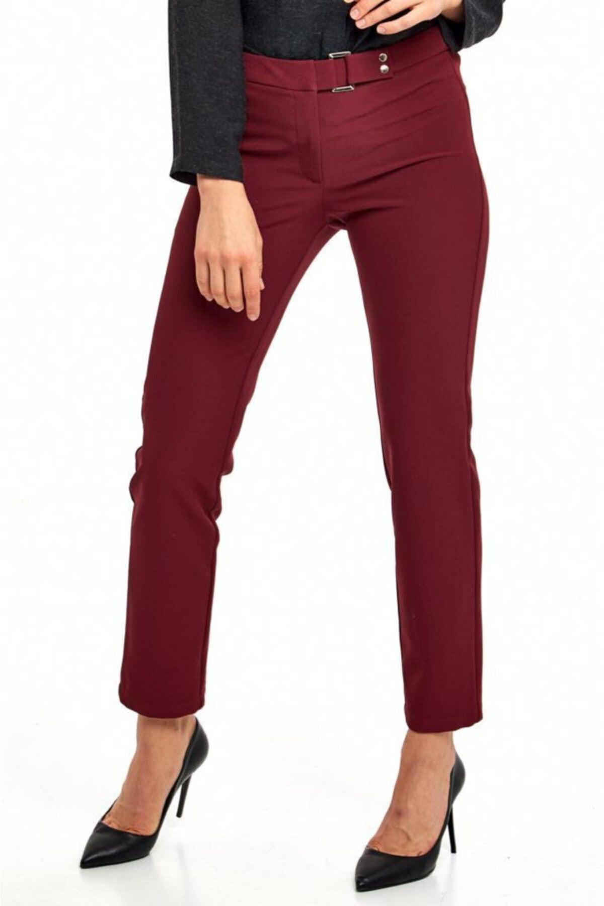 İKİLER Kadın Bordo Beli Tokalı Standart Fit Pantolon 190-3503 1
