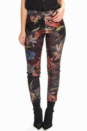 İKİLER Kadın Siyah Standart Fit Desenli Pantolon 190-3524