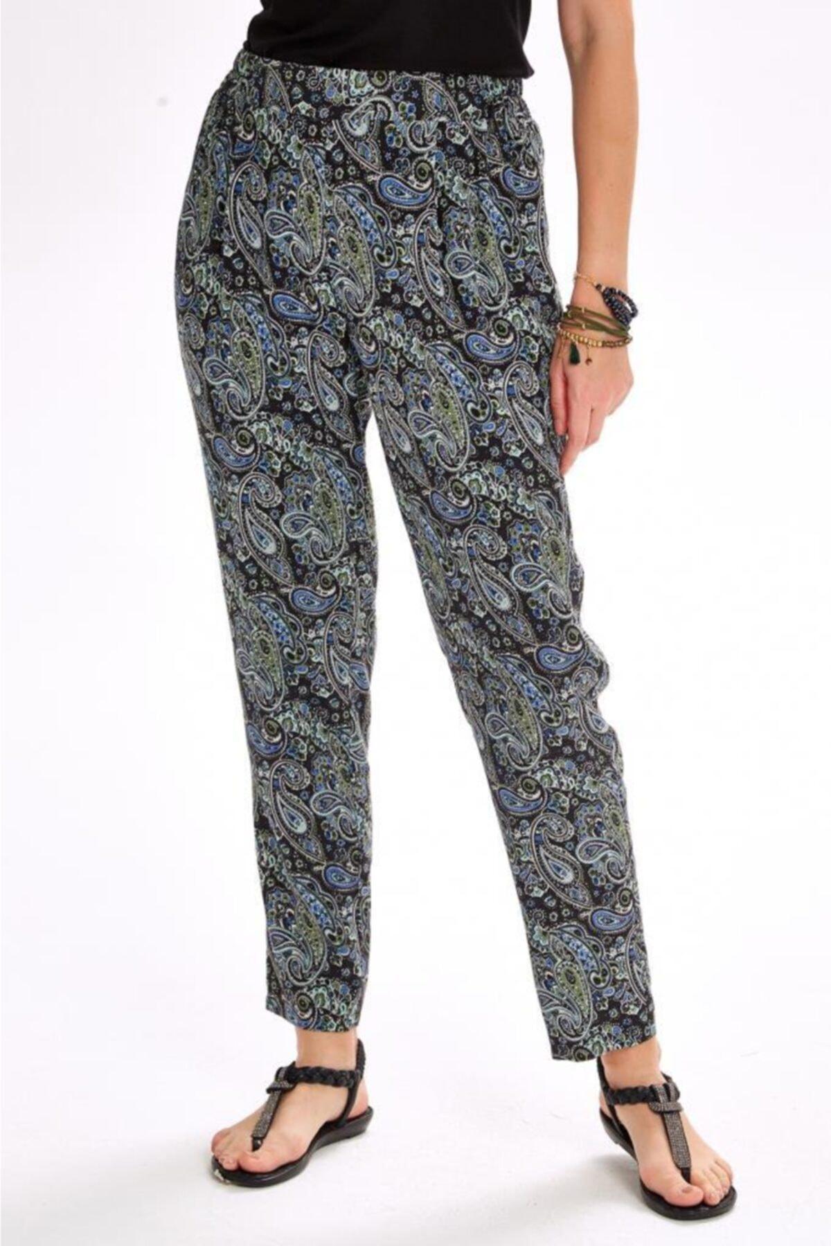 İKİLER Kadın Lacivert Beli Lastikli Şal Desen Pantolon 020-3519 1