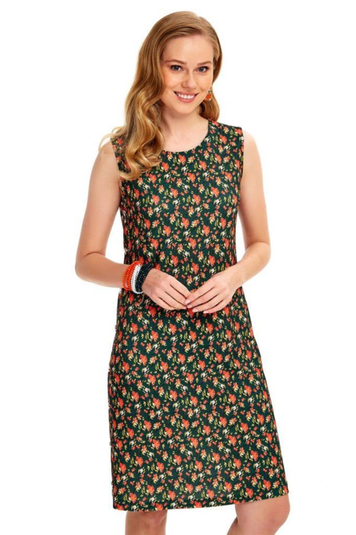 İKİLER Kadın Yeşil Yanları Çıtçıtlı Çiçek Desenli Elbise 1