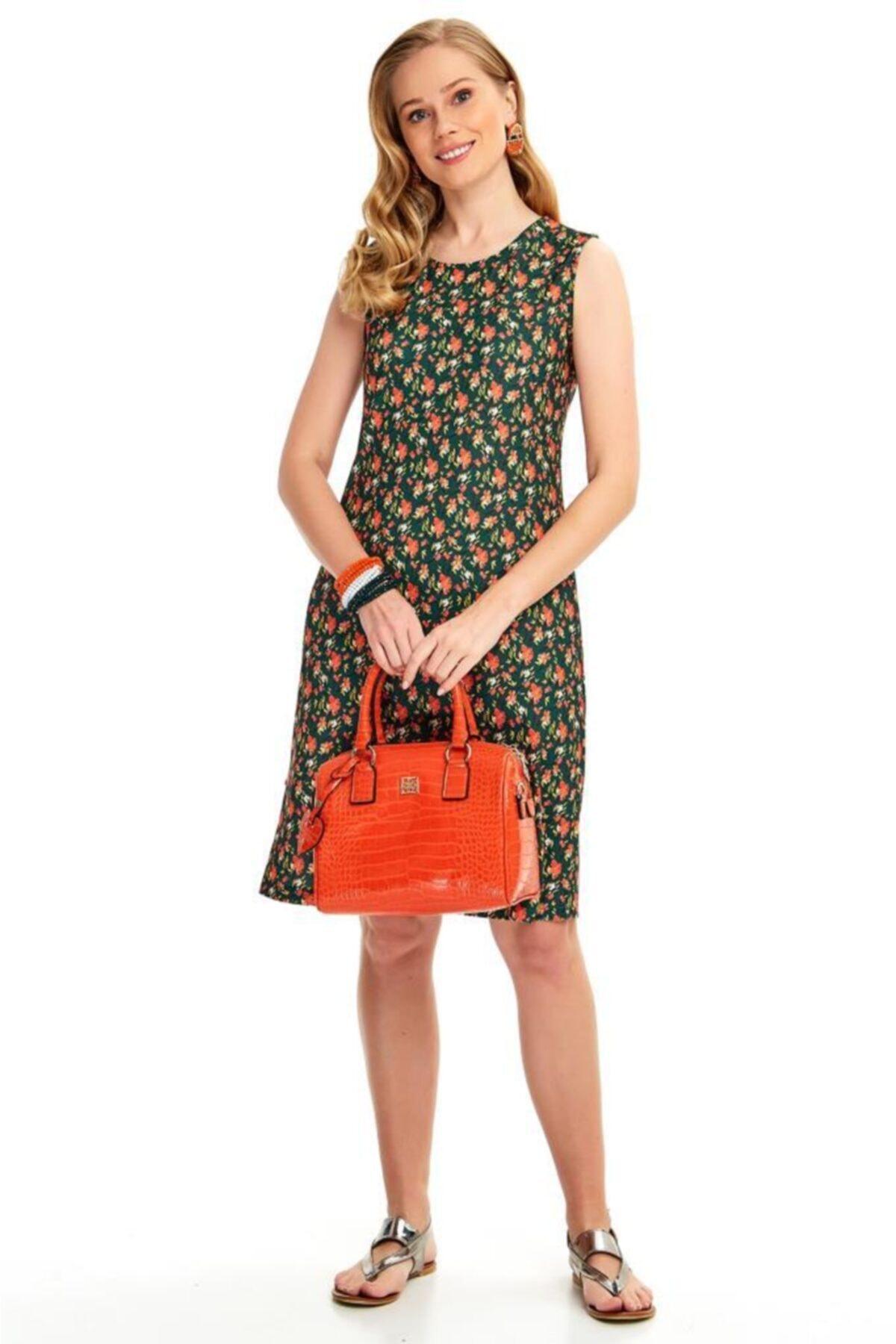 İKİLER Kadın Yeşil Yanları Çıtçıtlı Çiçek Desenli Elbise 2