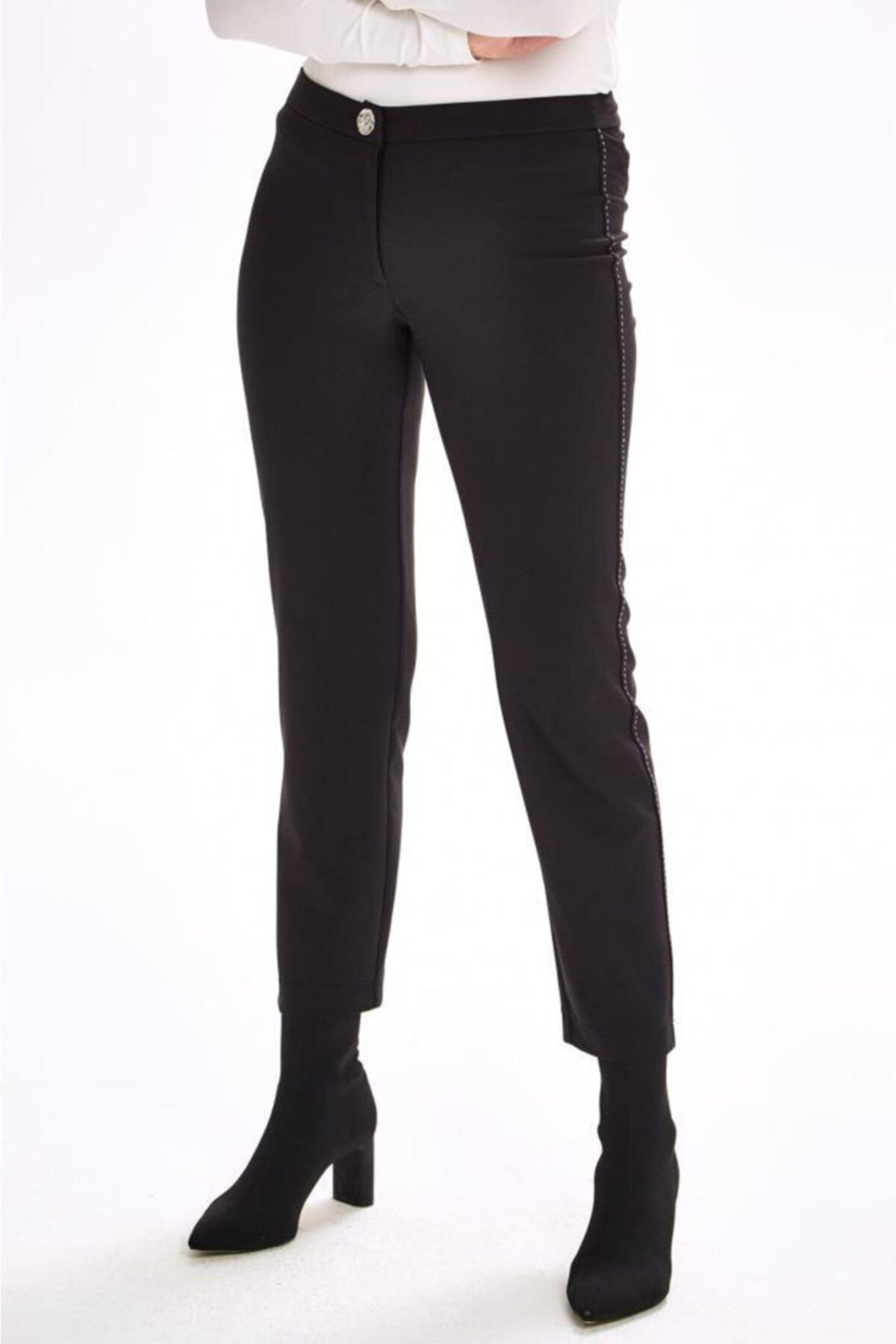 İKİLER Yanları Süs Dikişli Standart Fit Pantolon 201-3502 1