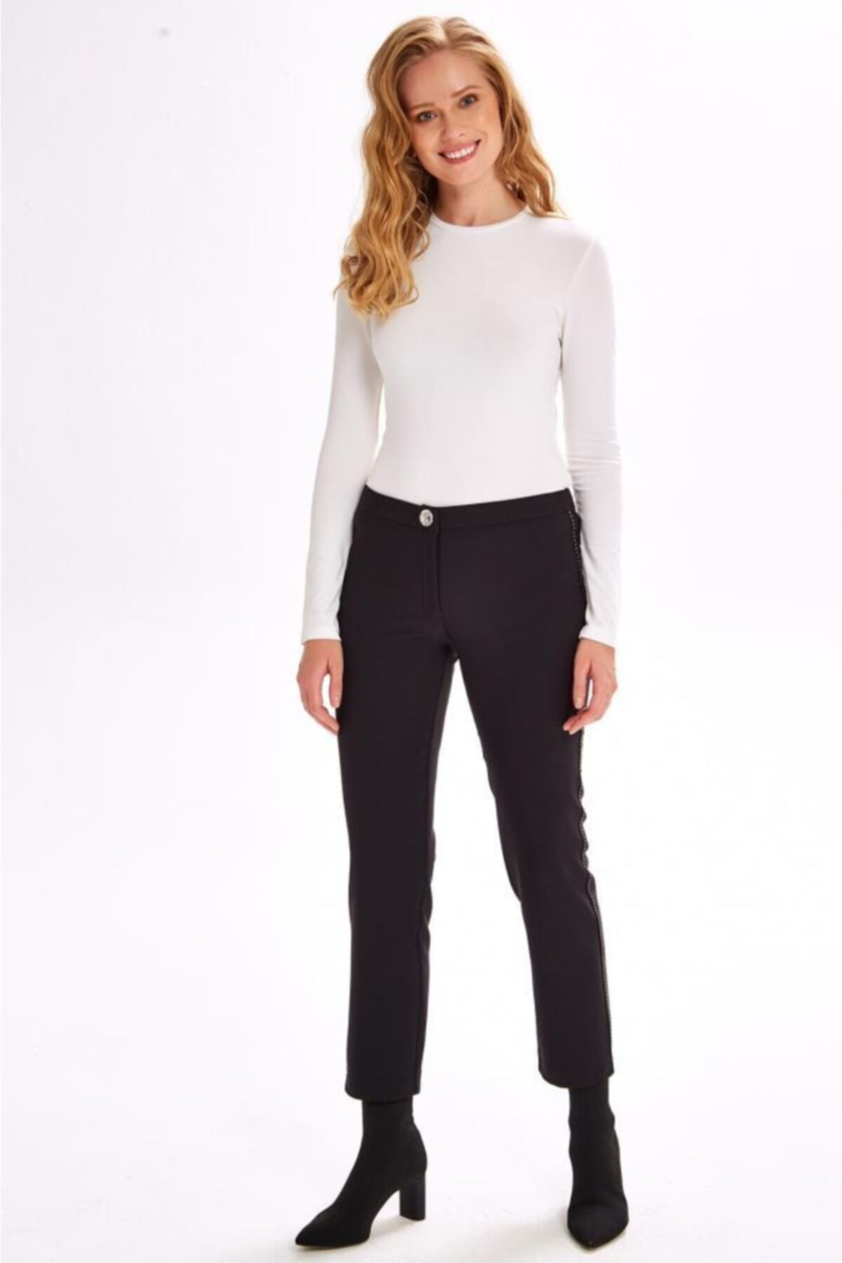 İKİLER Yanları Süs Dikişli Standart Fit Pantolon 201-3502 2