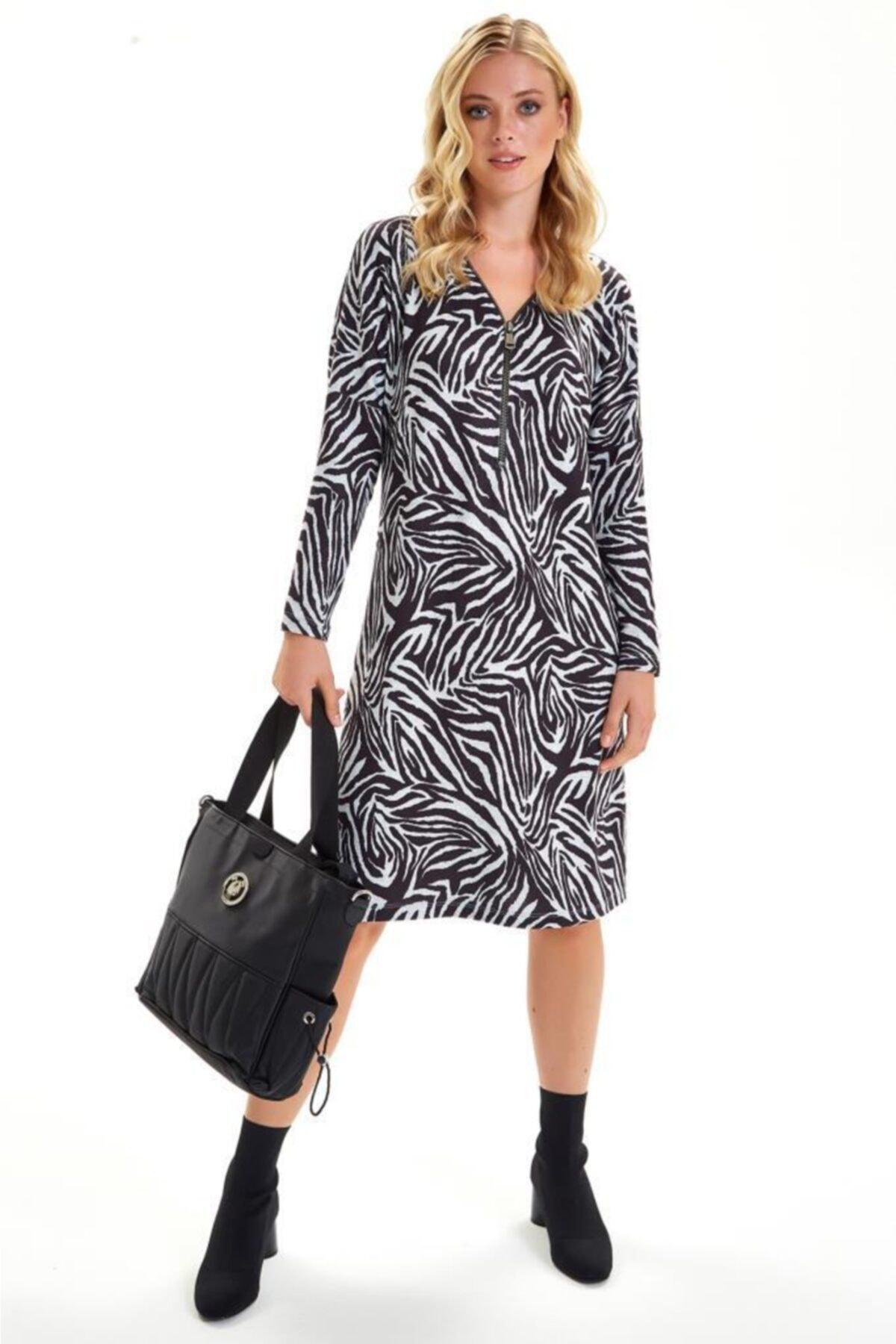 İKİLER Yakası Metal Fermuarlı Zebra Desen Elbise 201-2511 2