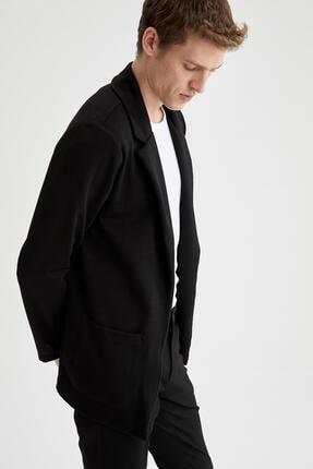 DeFacto Erkek Siyah Ceket Yaka Regular Fit Hırka