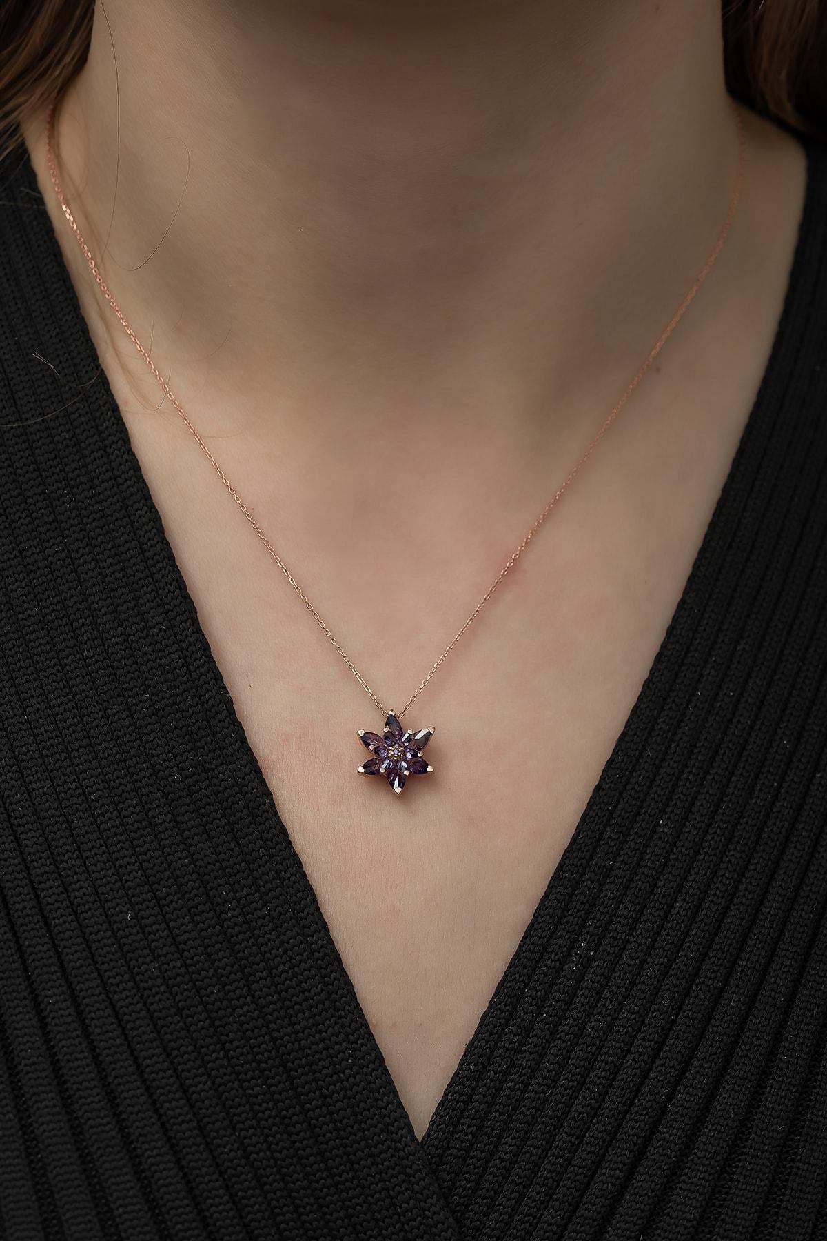 Nereze Kadın 925 Ayar Mor Lotus Çiçeği Gümüş Kolye 2