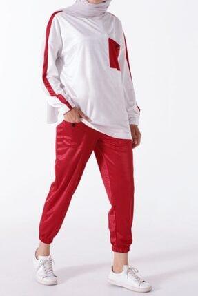 ALLDAY Kırmızı-beyaz Düğmeli Cepli Ikili Spor Takım