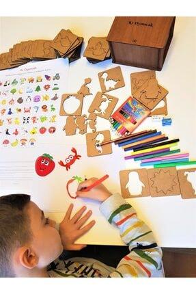 Kr Oyuncak 133 Parça Eğitici Ahşap Çizim, Eşleştirme Ve Boyama Blokları