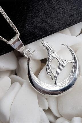 Gümüş Pazarım Bozkurt Motifli Gümüş Erkek Kolyesi