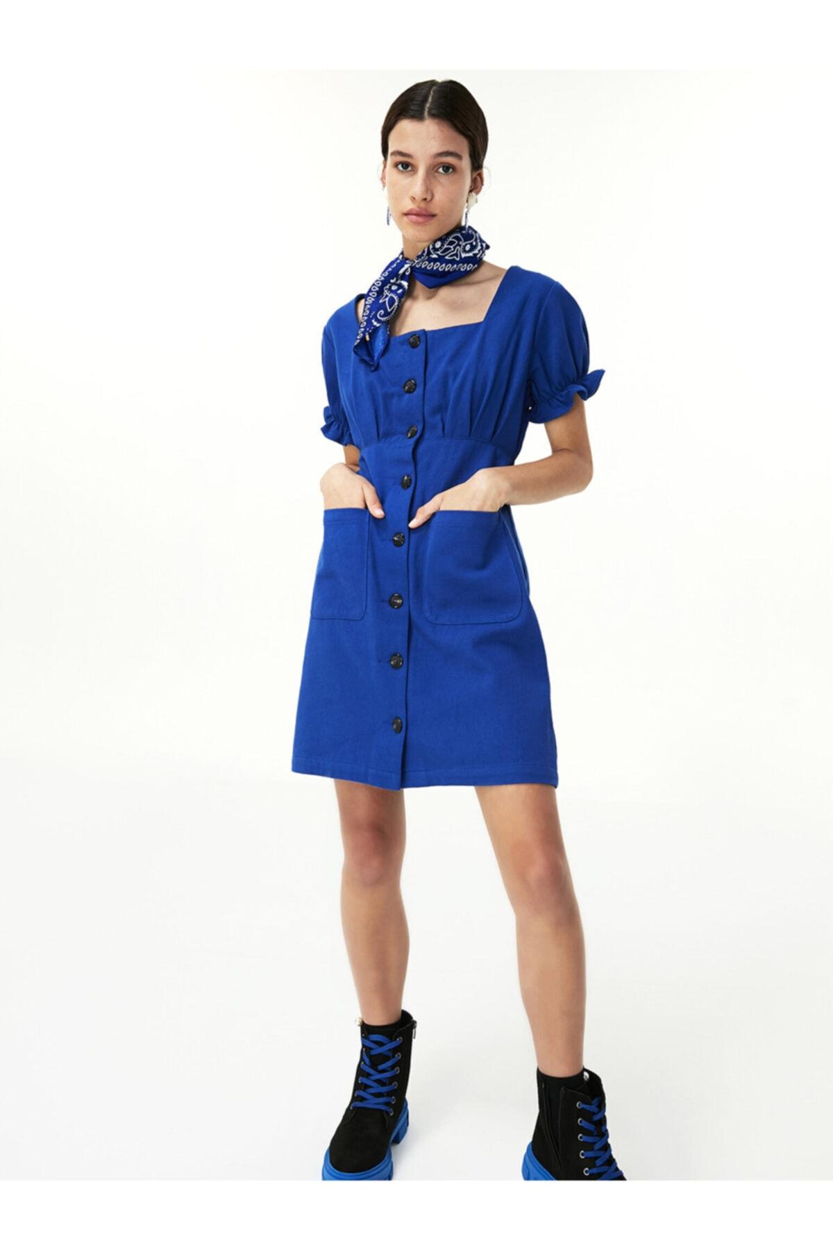 Twist Düğme Kapama Elbise 1