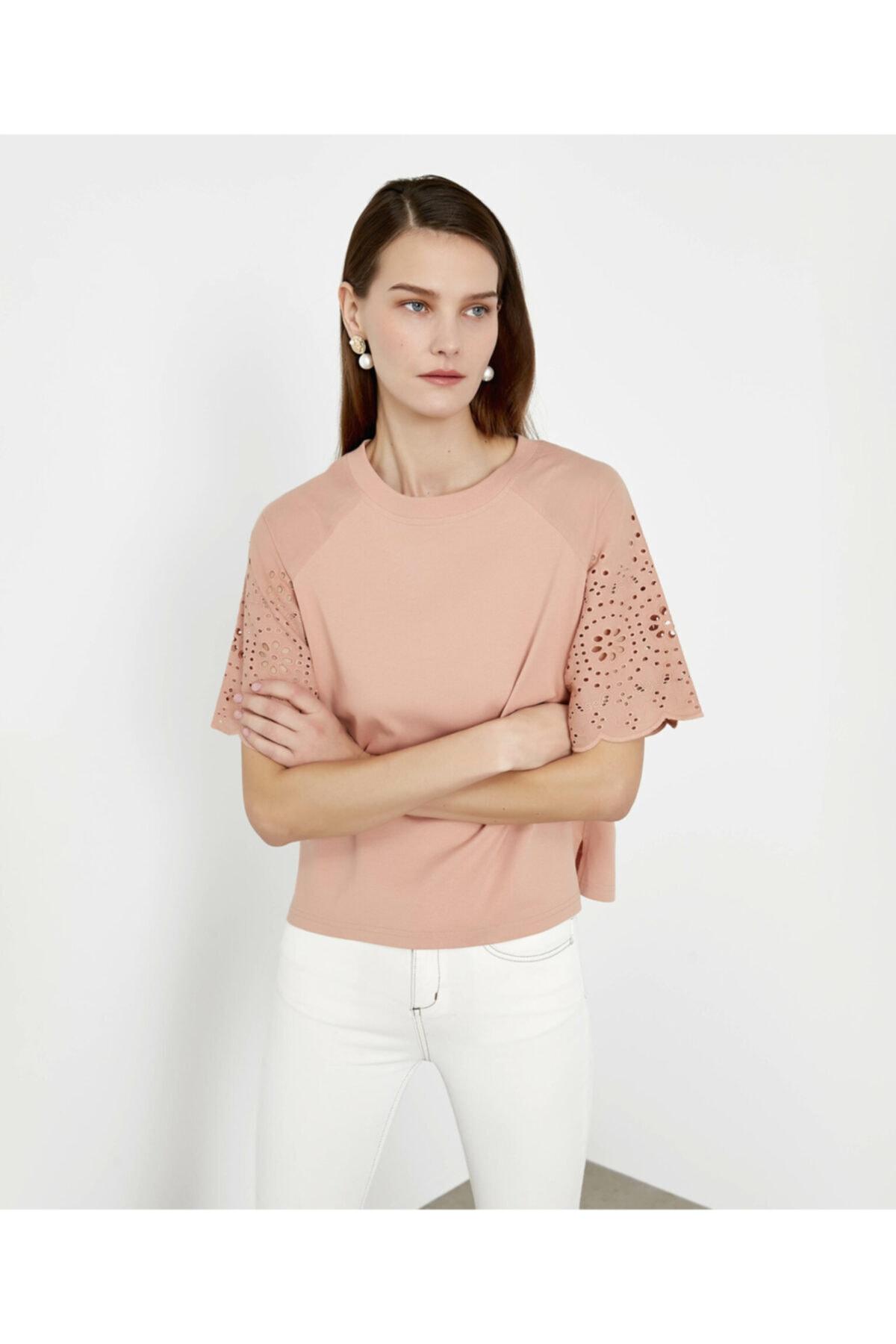 İpekyol Beyaz Iş Kol Detaylı Tshirt 2