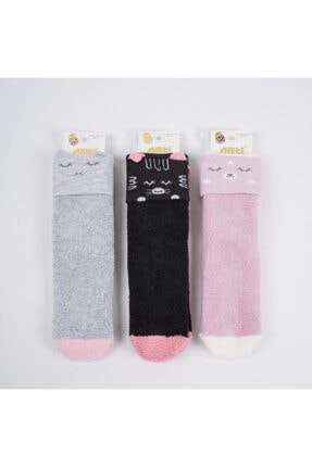 Artı Mariy 3d'li Kız Çocuk Havlu Soket Çorap (3'lü)