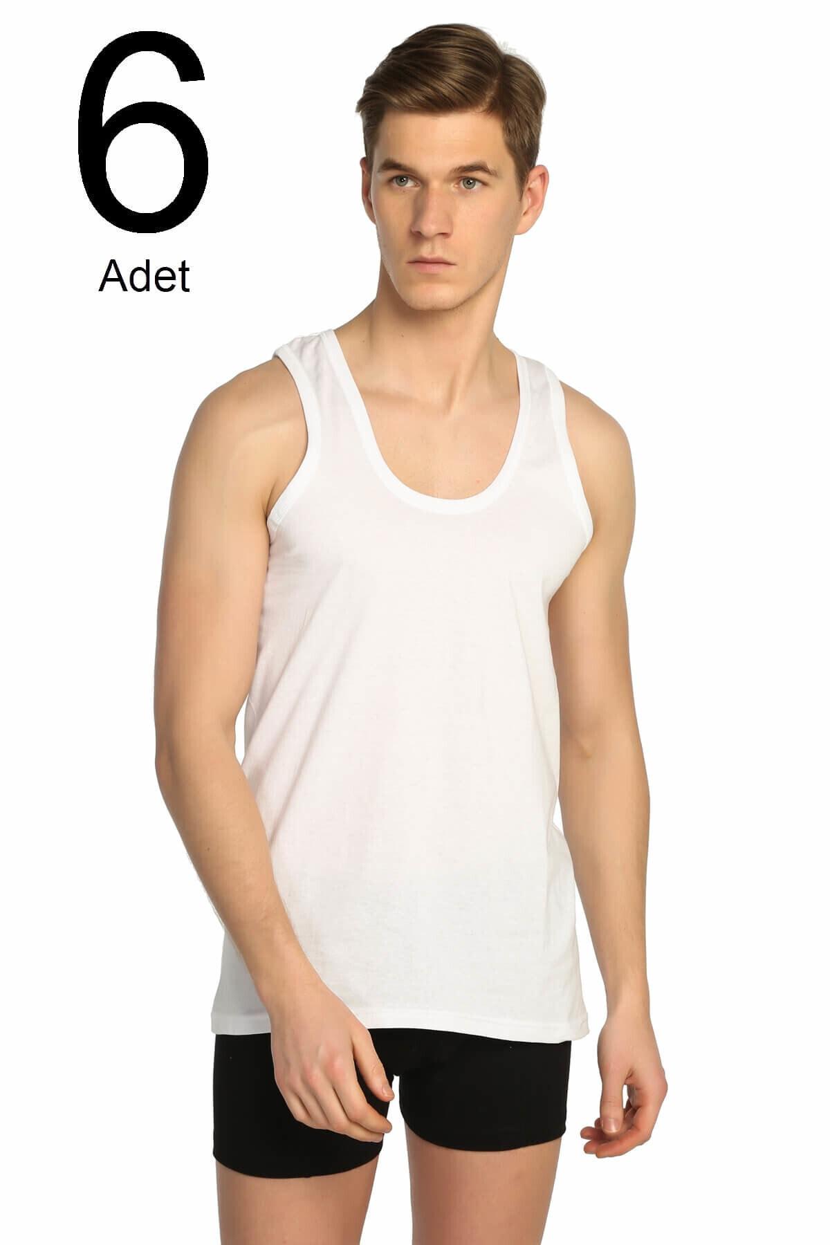 Tutku Erkek Beyaz 6'lı Paket Klasik Atlet Elf568t0101ccm6 1