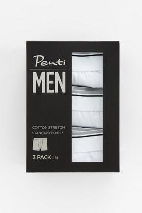 Penti Optik Beyaz Basic Tape 3lü Mıd Boxer