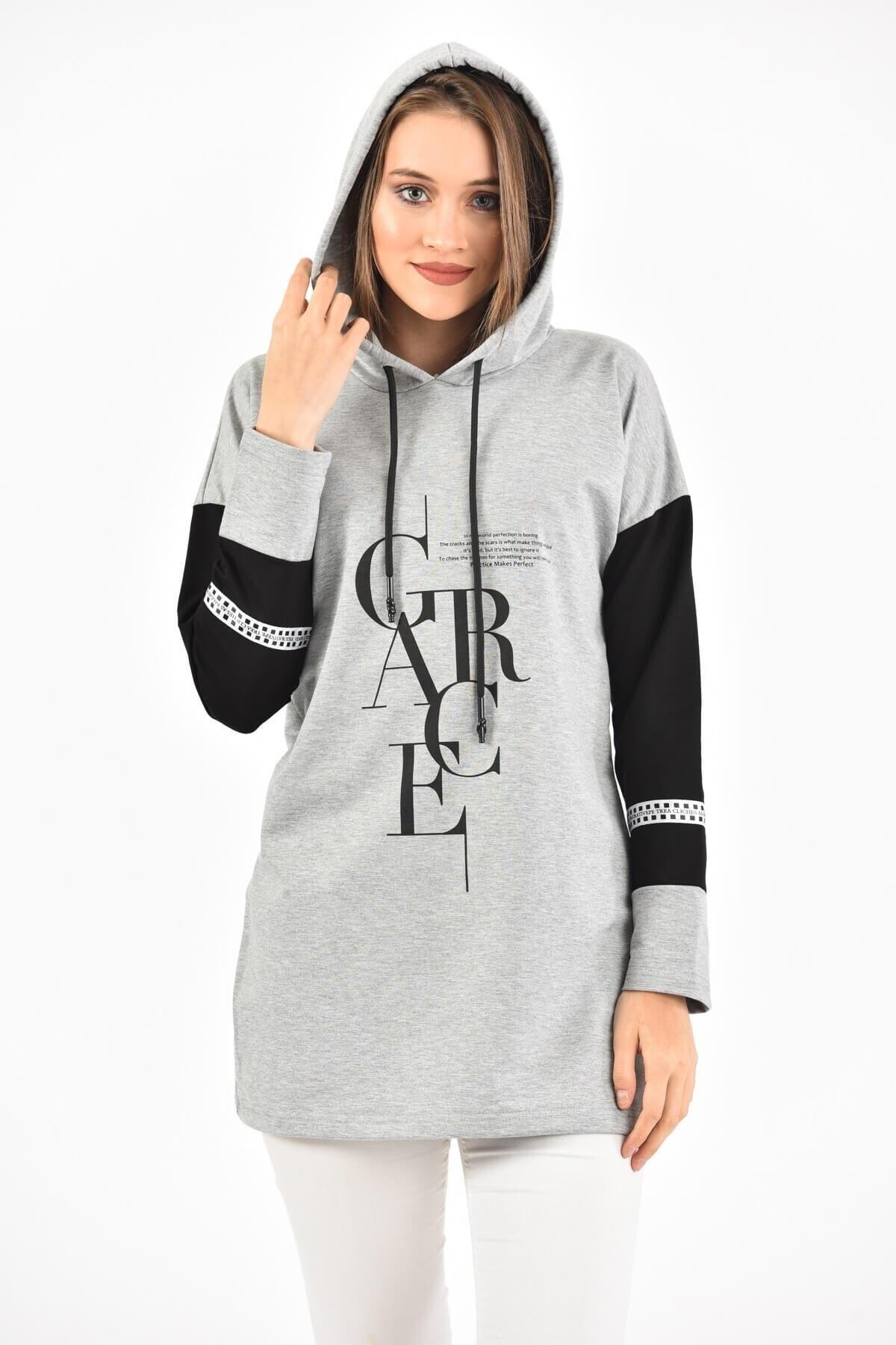 BURRASCA Grace Baskılı Kol Detaylı Kapüşonlu Sweatshirt 1