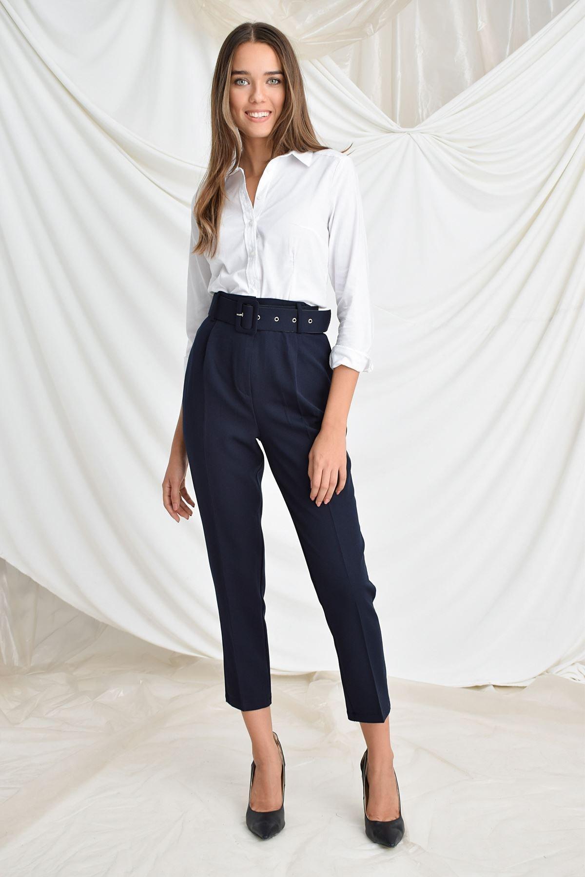 Zafoni Kadın Lacivert Beli Kemerli Havuç Pantolon 1