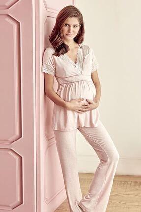 Anıl Lingerie Anıl 9603 Lohusa Kısa Kol 3 Parça Pijama Takımı Pembe