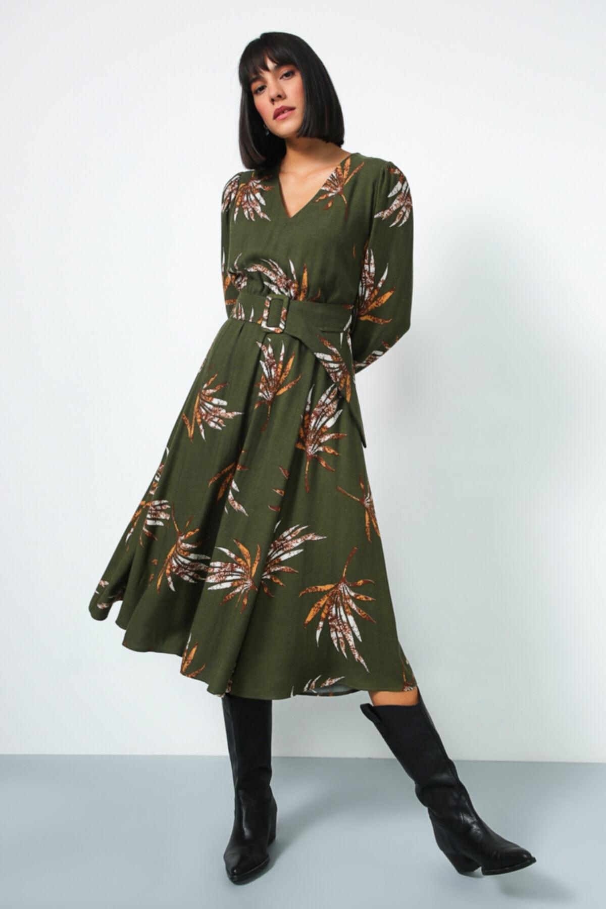 Gusto V Yaka Uzun Elbise - Haki 1