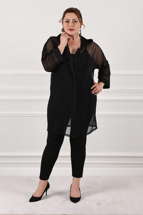 Nelly Büyük Beden Kadın Kapüşonlu Tül Ceket Siyah