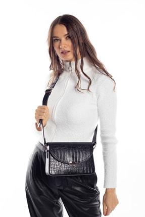 Madamra Aynı Butikte 2.Ürün 1 TL Siyah Kroko Kadın Kapaklı Kutu Çapraz Çanta