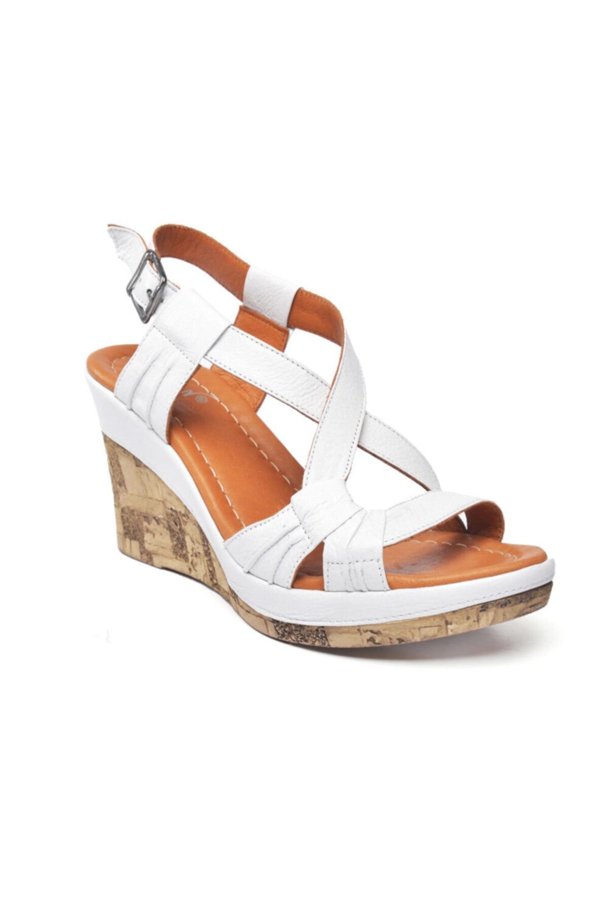 Zeynep Sıradağlı Kadın Beyaz Loreana Kaplama Dolgu Deri Sandalet 2