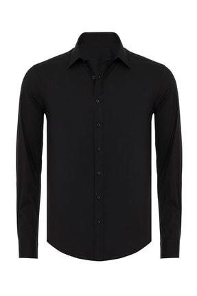 R-Germen Erkek Siyah Mat Saten Slim Fit Gömlek