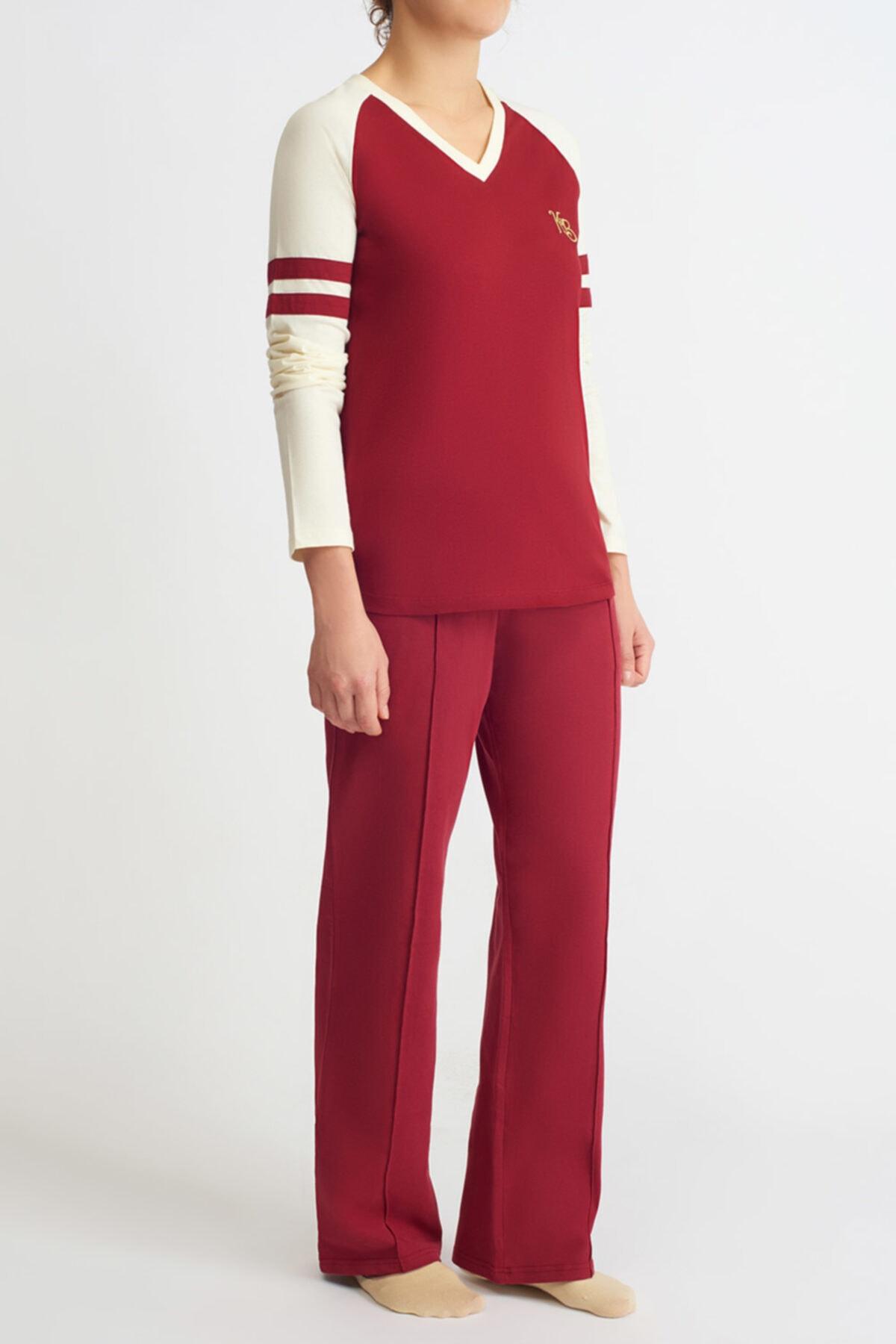 Katia&Bony College Kadın V Yaka Uzun Kollu Tişört - Bordo 1