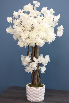 Yapay Çiçek Deposu Yapay Küçük Japon Bahar Dalı Ağacı 80 Cm Beyaz