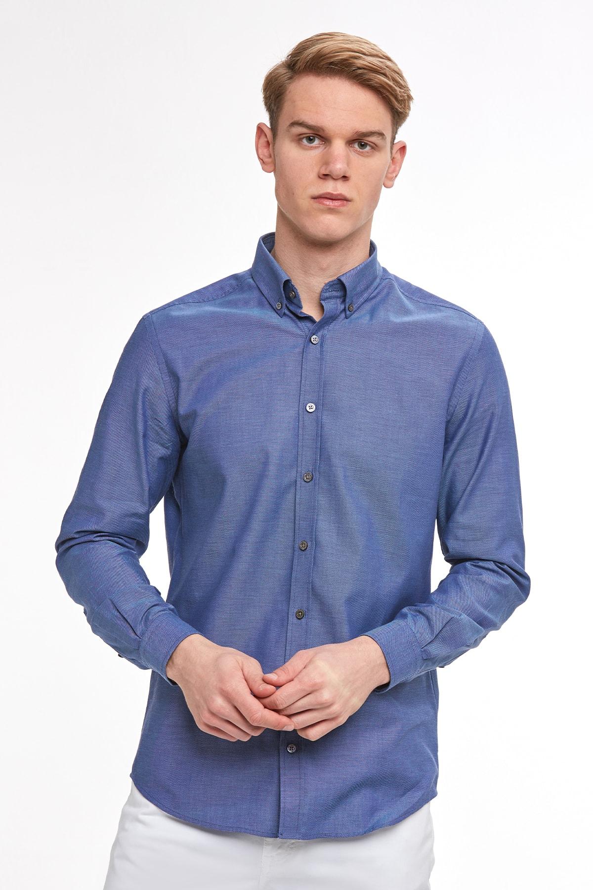 Hemington Lacivert Yazlık Oxford Gömlek Lacivert L 1
