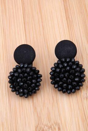 Pelin Aksesuar Siyah Kristalli Tasarım Düğme Küpe