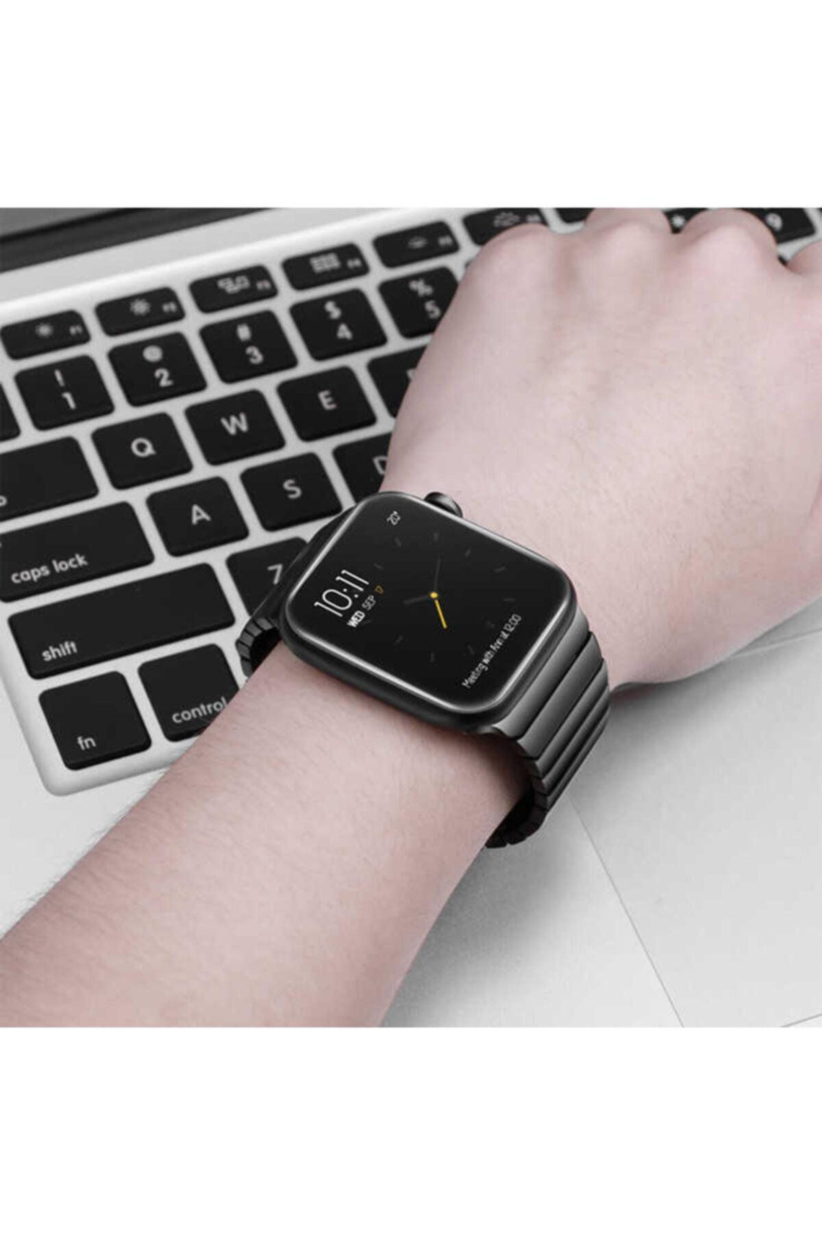 zore Apple Watch 44 Mm Kordon Çizgili Ayarlanabilir Otomatik Klipsli Metal Saat Kordun 2