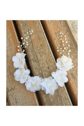 Kokoş Beyaz Şifon Çiçekli Gelin Taci 4 Yapraklı Beyaz Çiçekli
