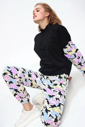 Trend Alaçatı Stili Kadın Siyah Gün Işığında Renk Değiştiren Sihirli Eşofman Takımı ALC-507-520-SP