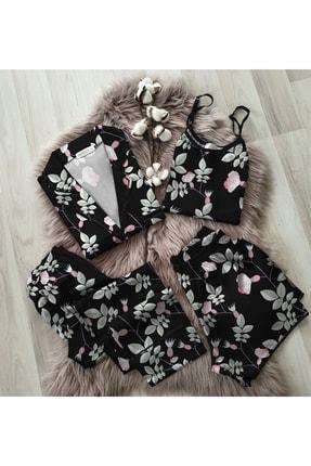 NO BRAND Siyah Çiçek Desenli 4lü Saten Pijama Seti