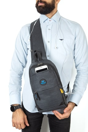 Newish Bady Bag Çok Gözlü Usb Girişli Çapraz Çanta (siyah Mavi)