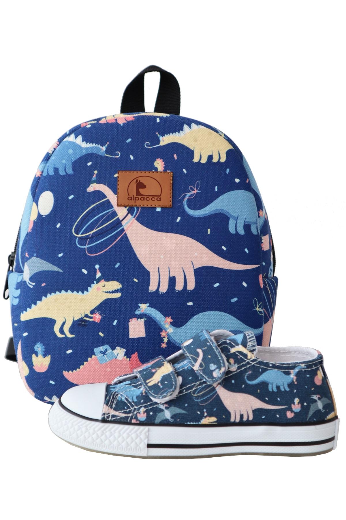 Alpacca Çocuk Dinozor Partisi Ayakkabı Çanta Kombin 1