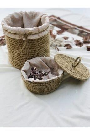 ZIMBIRTI CONSEPT Kapaklı Halat Sepet, Astarlı Havlu Sepeti, 2'li Jüt Halat Sepet