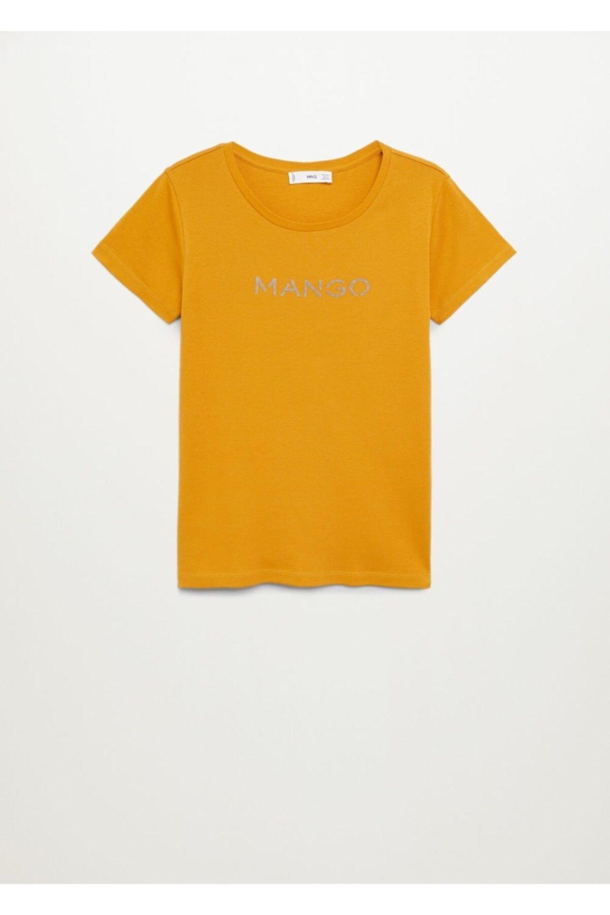 MANGO Woman Kadın Hardal Organik Pamuklu Logolu Tişört 2