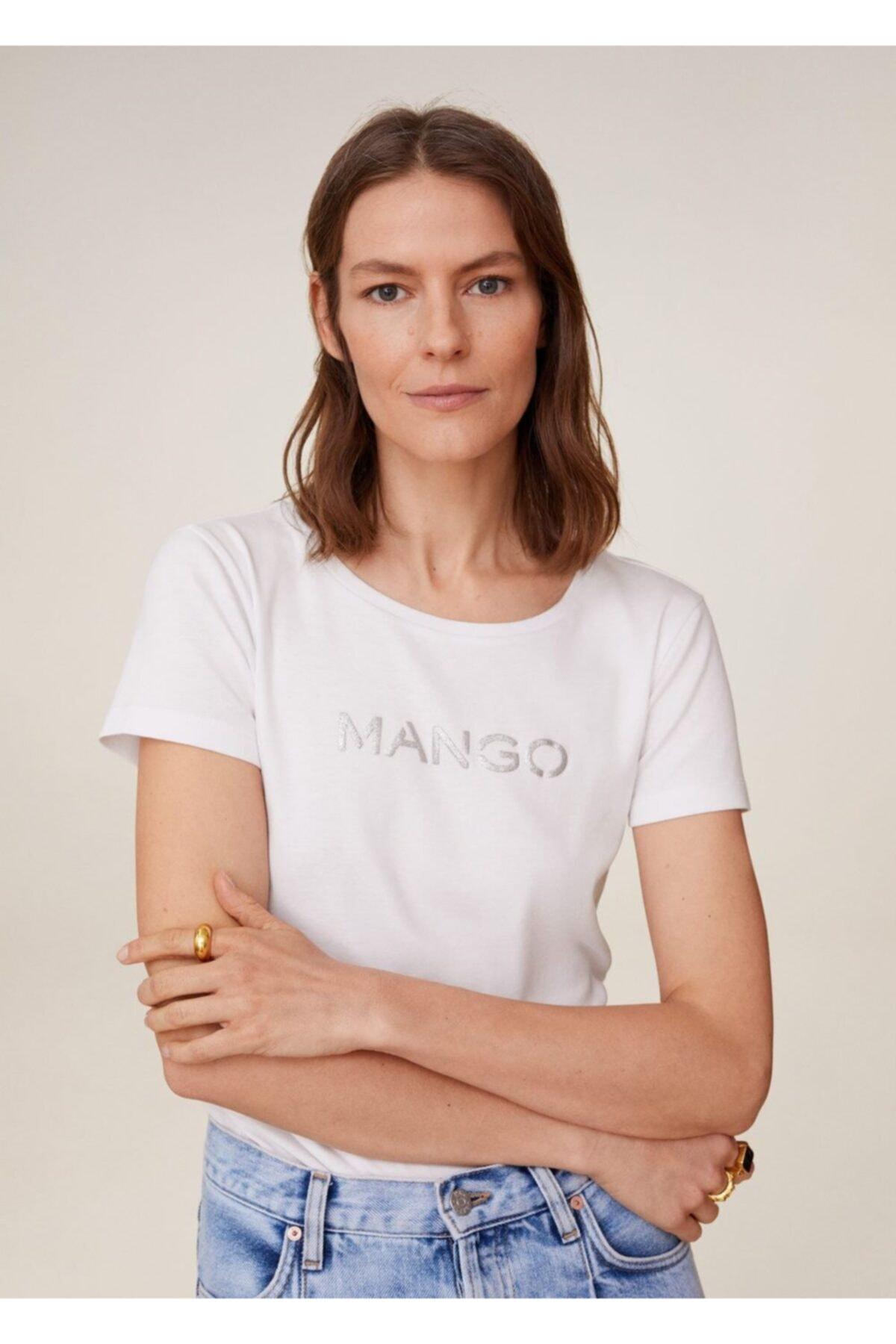 MANGO Woman Kadın Beyaz Metalik Logolu Tişört 77050535 2