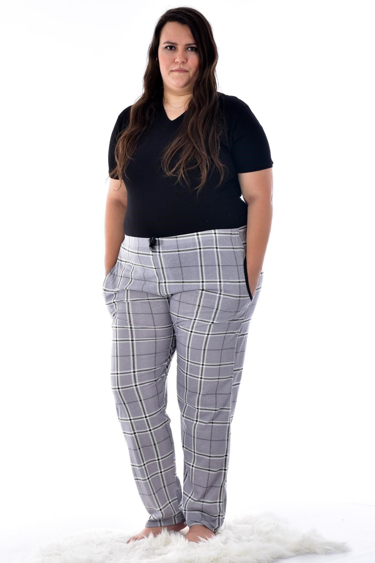 Pijamoni Kadın Gri 424-12 Büyük Beden Desenli Cepli Tek Pijama Altı 1