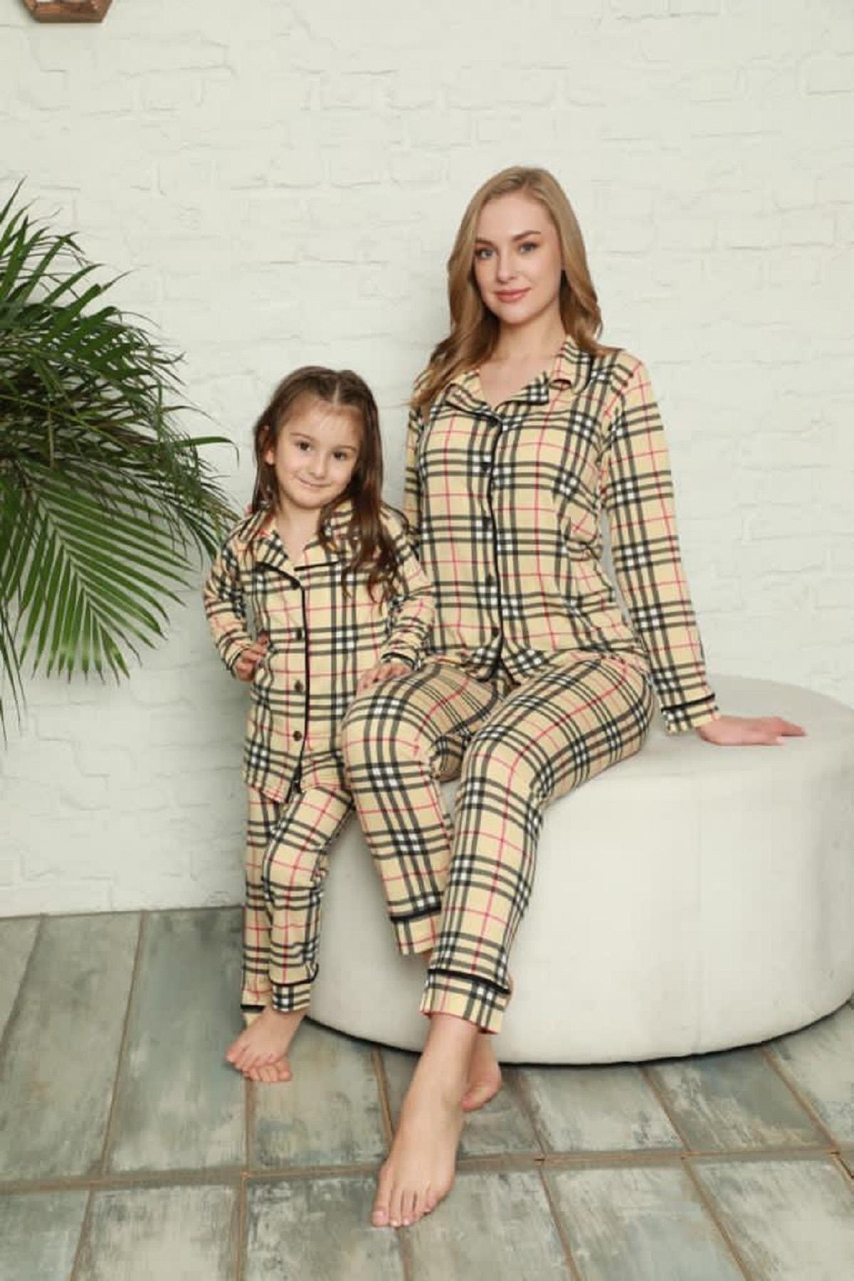 Kaktüs Moda Polat Yıldız Kareli Desen Anne Kız Pijama Takımı Kombini 20112 1