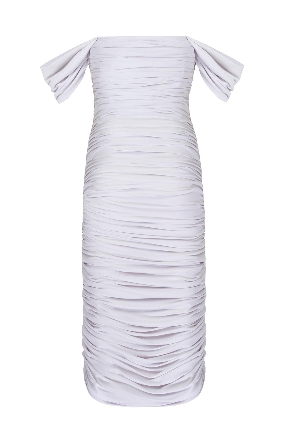 Whenever Company Kadın Beyaz Drapeli Bridal Düşük Kollu Elbise 2