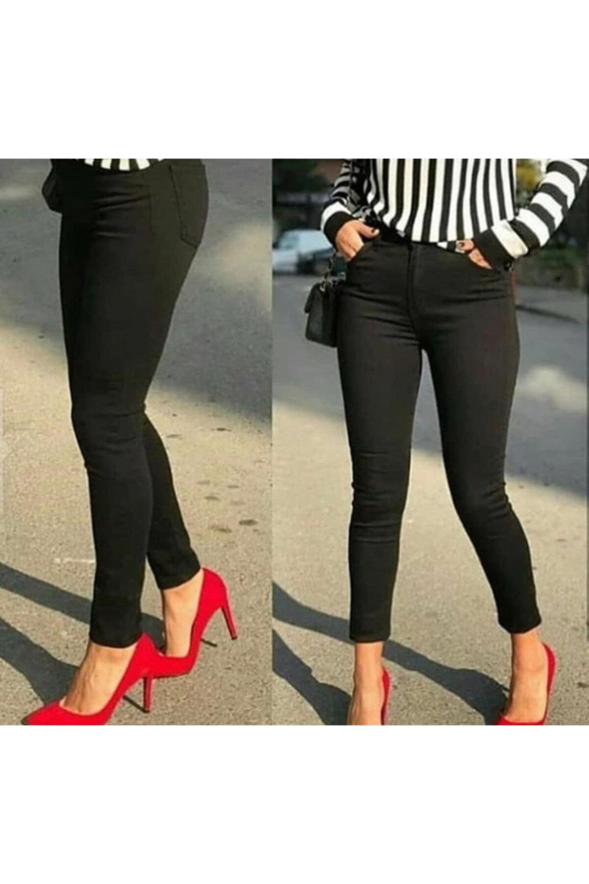 TugsatTasarTekstil Bayan Siyah Keten Pantolon 1
