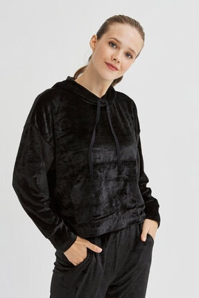 Penti Siyah Velvet Sweatshirt