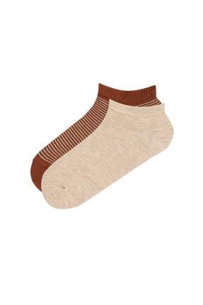 Penti Kahve Bej Shiny Stripe 2li Patik Çorabı