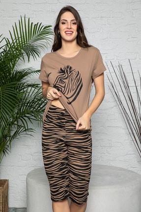 MyBen Kadın Vizon Renkli Zebra Baskılı Kısa Kollu Kapri Alt Üst Pijama Takımı 20099